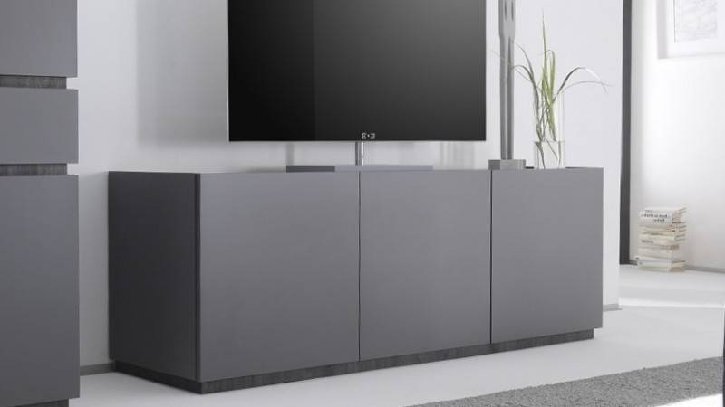 gdegdesign Meuble TV gris mat 3 portes - Ivo