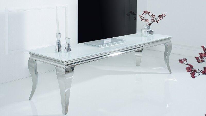 gdegdesign Meuble TV baroque chromé plateau verre blanc - Zita