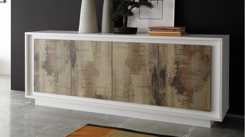 gdegdesign Buffet bahut design bois et laqué blanc mat - Brann