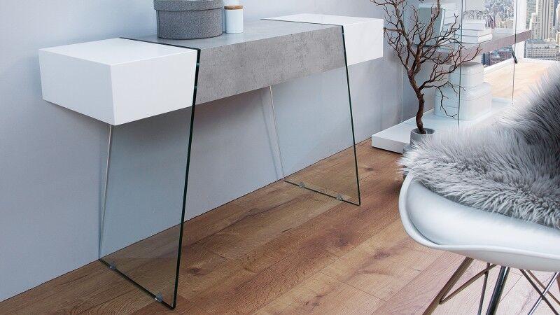 gdegdesign Console design 1 tiroir blanc mat et béton ciré avec verre - Solna