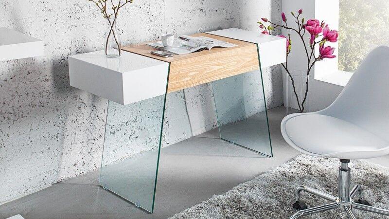 gdegdesign Console design 1 tiroir blanc brillant et bois de chêne avec verre - Varberg