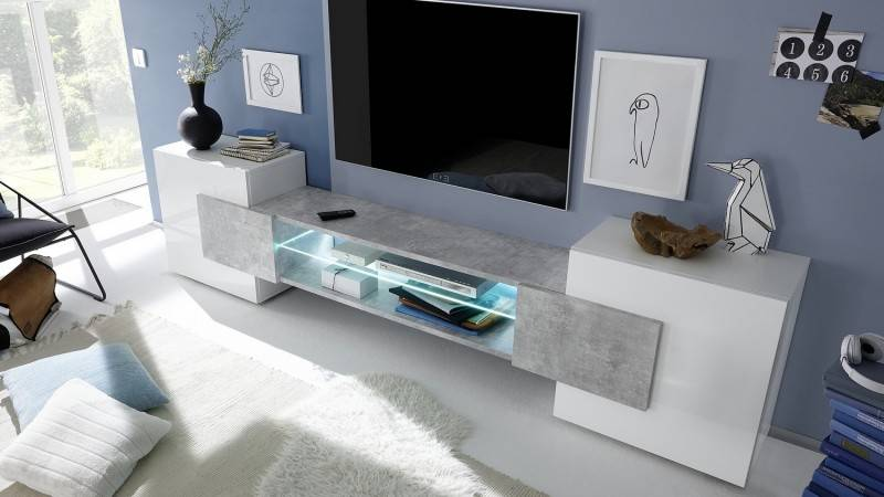 gdegdesign Meuble TV béton laqué blanc 2 portes avec LED - Oman