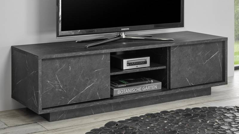 gdegdesign Meuble TV 2 portes décor marbre marbré noir - Ercole
