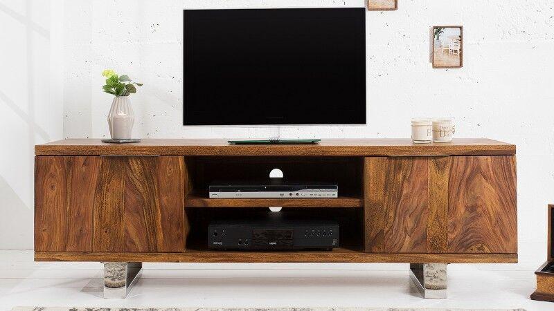 gdegdesign Meuble TV bois et métal chromé 160 cm - Ursel