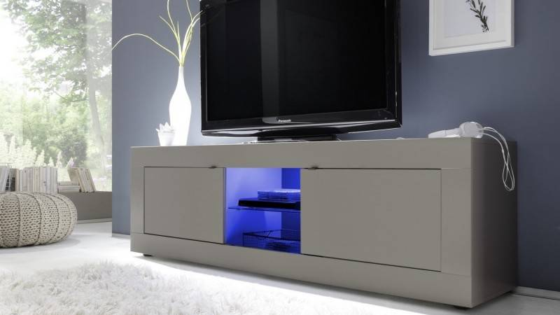 gdegdesign Meuble TV taupe mat uni avec LED - Lernig