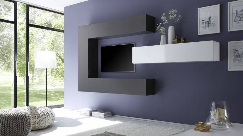 gdegdesign Ensemble meuble TV mural avec rangements - Manoj