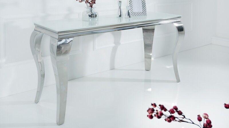 gdegdesign Console design baroque chromée plateau verre blanc - Zita