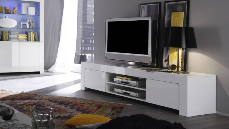 gdegdesign Meuble TV blanc 2 portes - Naomi