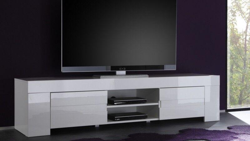 gdegdesign Meuble TV blanc laqué brillant 2 portes - Konrad