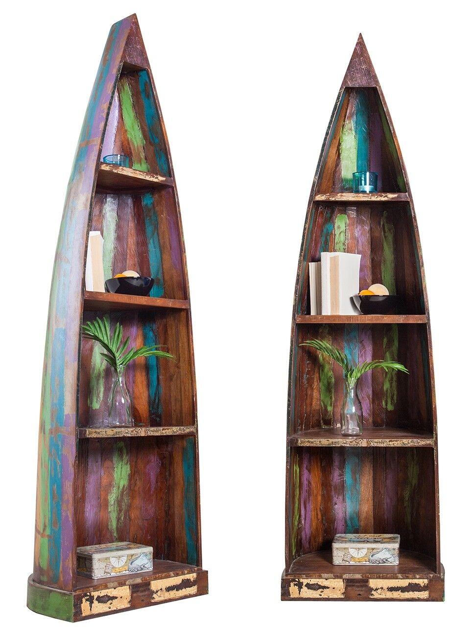 gdegdesign Bibliothèque étagère barque en bois laqué multicolore - Ken