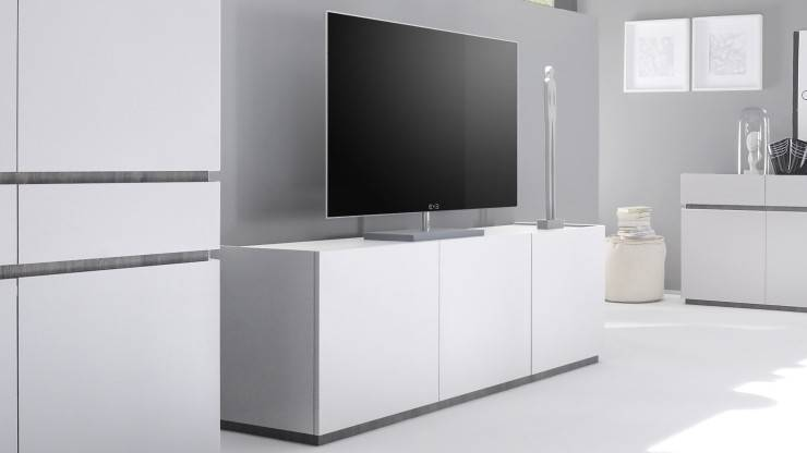 gdegdesign Meuble TV blanc mat 3 portes - Ivo