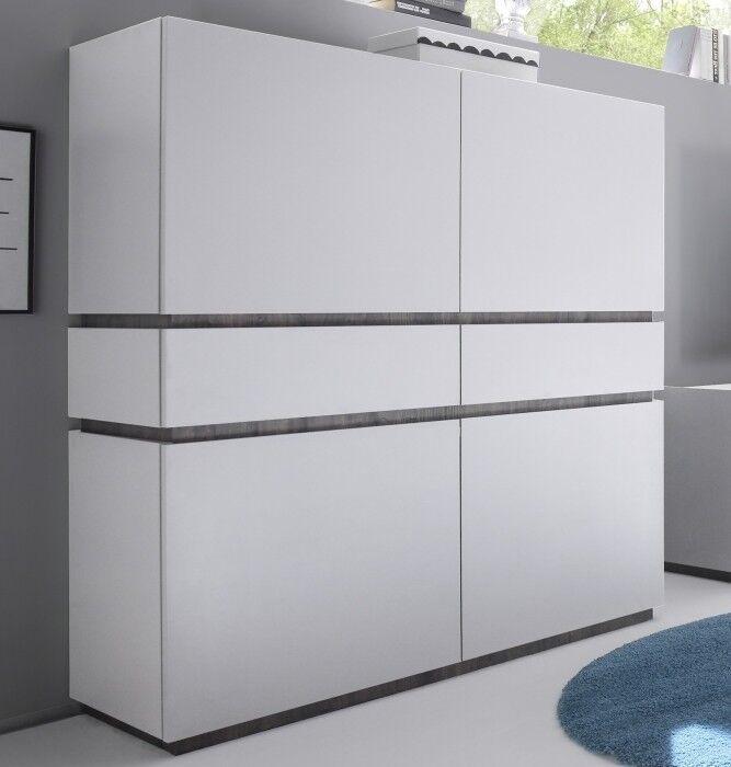gdegdesign Buffet haut design blanc mat 4 portes + 2 tiroirs - Ivo