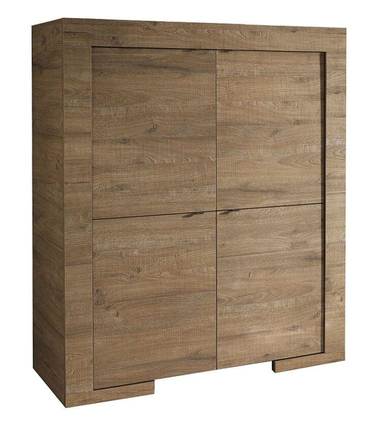 gdegdesign Buffet haut meuble de rangement couleur bois 4 portes - Karel