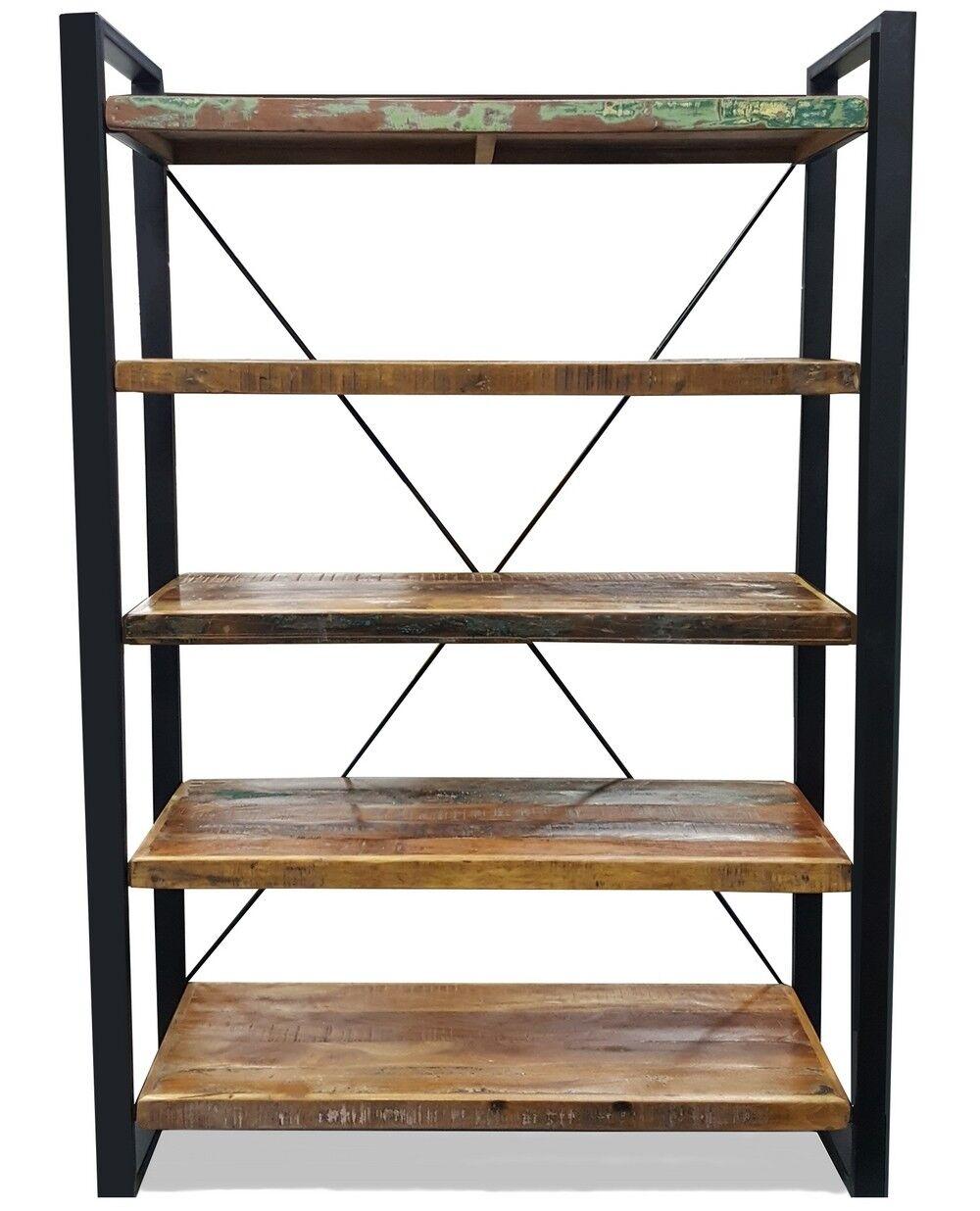 gdegdesign Bibliothèque étagère industrielle bois et métal noir - Amador