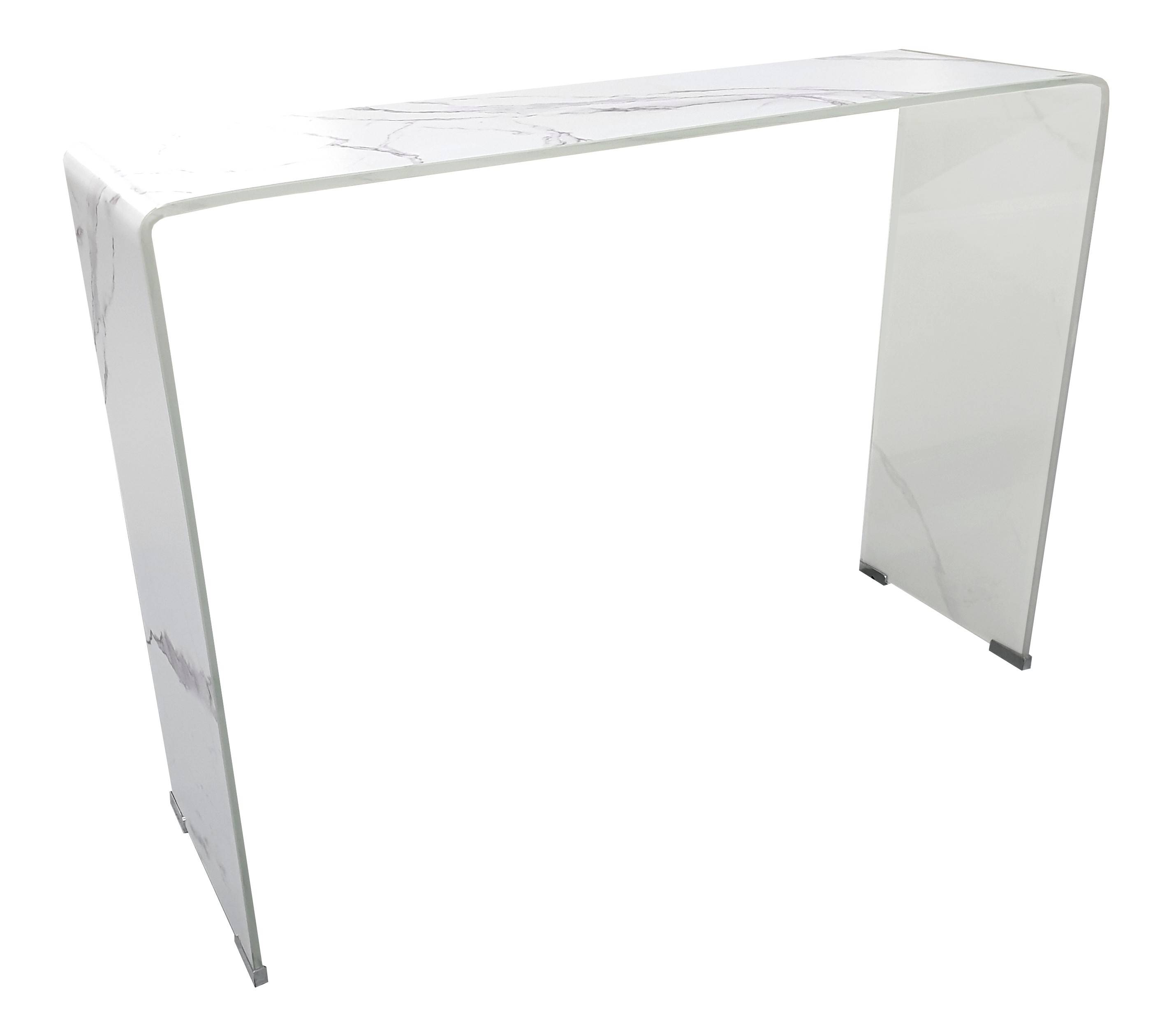 gdegdesign Console design verre trempé imitation marbre blanc - Kingston