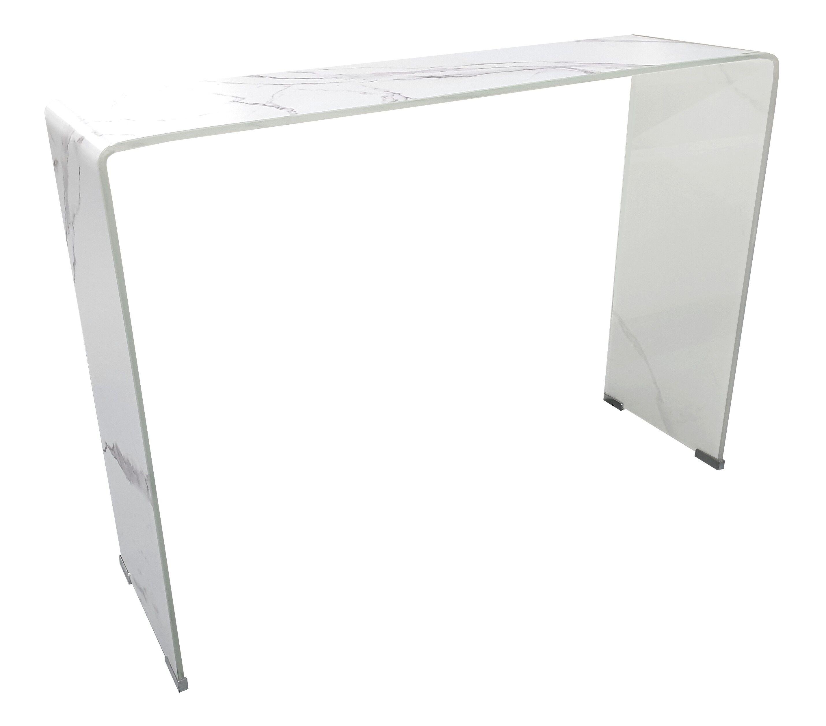gdegdesign Console design verre trempé imitation marbre blanc - Kingston