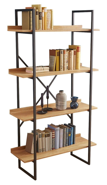 gdegdesign Bibliothèque étagère industrielle bois et métal gris anthracite - Walter