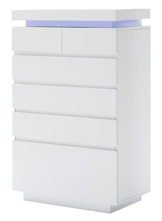 gdegdesign Commode design LED 6 tiroirs laquée blanc brillant - Matala