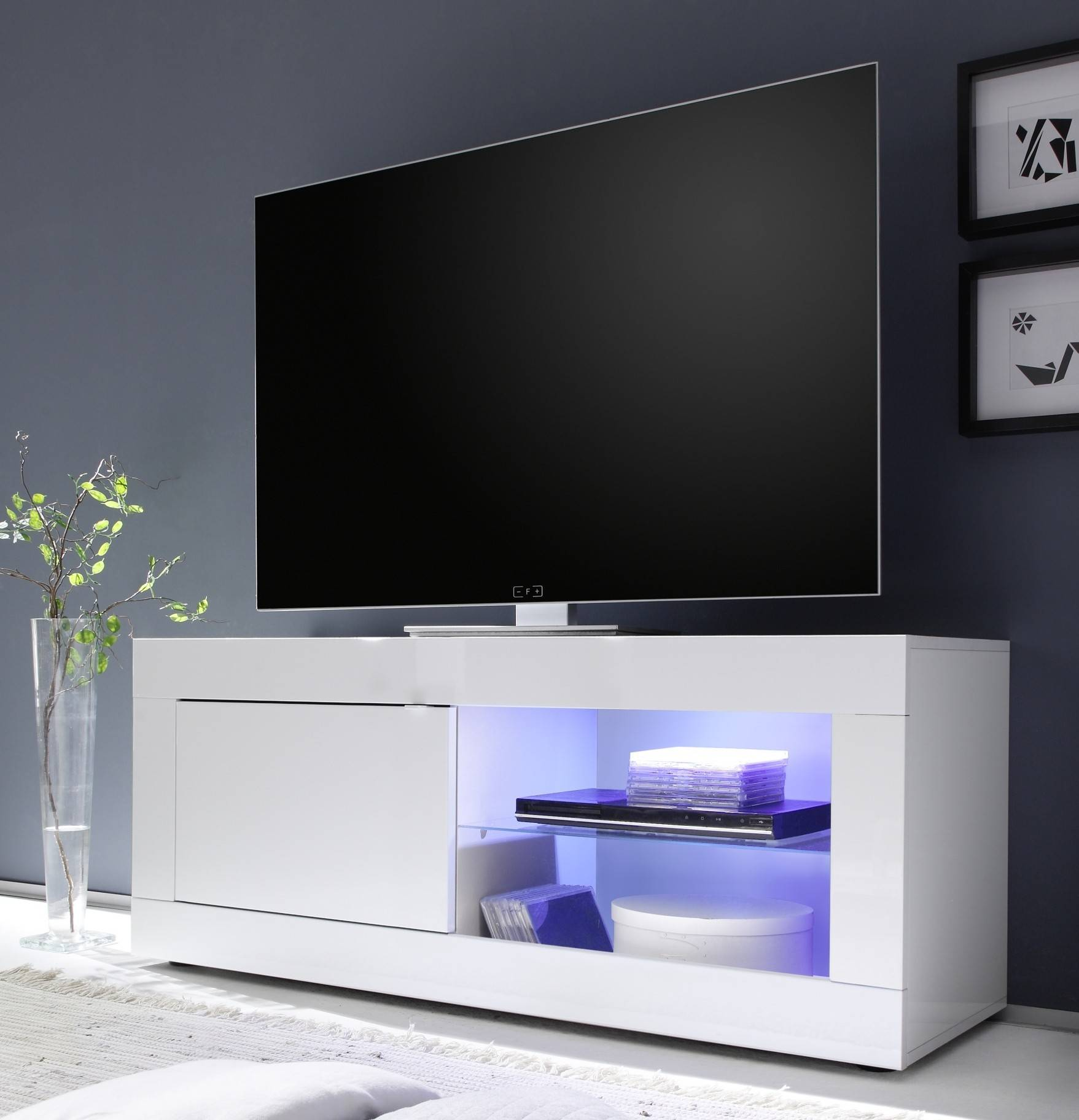 gdegdesign Meuble TV 1 porte blanc uni avec LED - Lernig Small