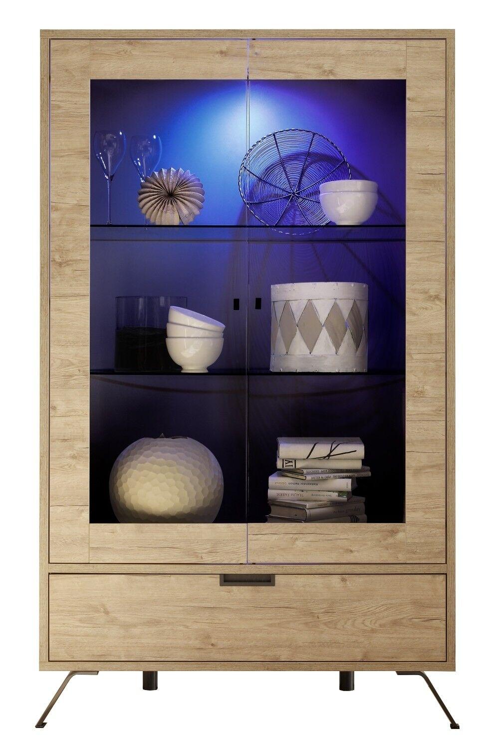 gdegdesign Vitrine design LED bois clair 2 portes et 1 tiroir - Vram