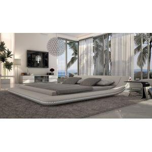 gdegdesign Lit design blanc LED 140x190 cm simili cuir - Apex - Publicité