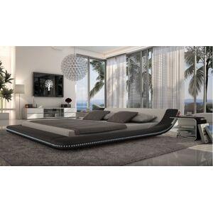 gdegdesign Lit design blanc et noir LED 140x190 cm simili cuir - Apex - Publicité