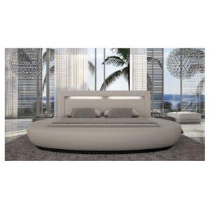 gdegdesign Lit rond design blanc 160x200 cm simili cuir - Kovel - Publicité