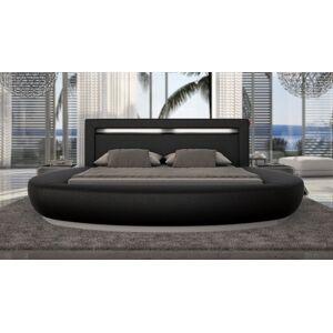 gdegdesign Lit rond design noir 200x200 cm simili cuir - Kovel - Publicité