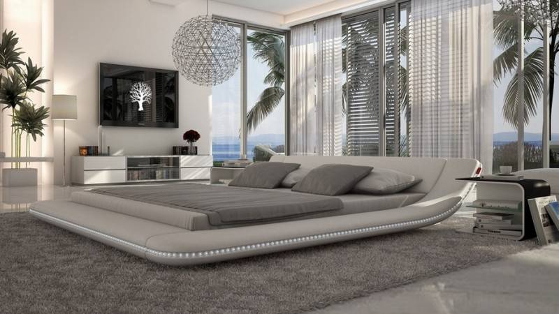 gdegdesign Lit design blanc LED 140x190 cm simili cuir - Apex