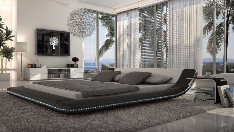 gdegdesign Lit design blanc et noir LED 140x190 cm simili cuir - Apex