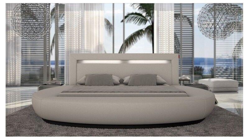 gdegdesign Lit rond design blanc 140x190 cm simili cuir - Kovel