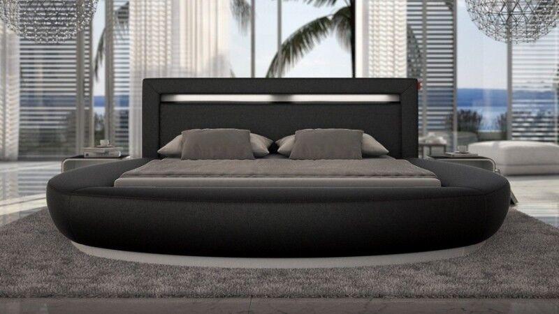 gdegdesign Lit rond design noir 140x190 cm simili cuir - Kovel