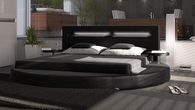 gdegdesign Lit rond design noir 140x190 cm simili cuir - Uster