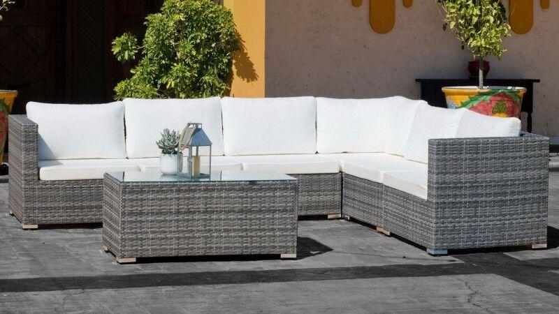 gdegdesign Canapé d'angle de jardin résine tressée rotin gris et blanc + table basse - Sacramento