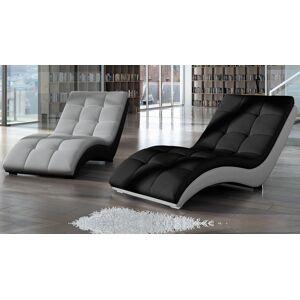 gdegdesign Chaise longue relax tissu gris clair simili cuir noir - Kan - Publicité