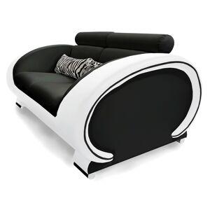 gdegdesign Canapé 2 places en cuir noir et blanc - Elton - Publicité