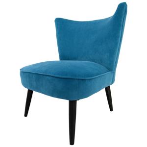 gdegdesign Fauteuil design tissu bleu pétrole velouté - Colby - Publicité