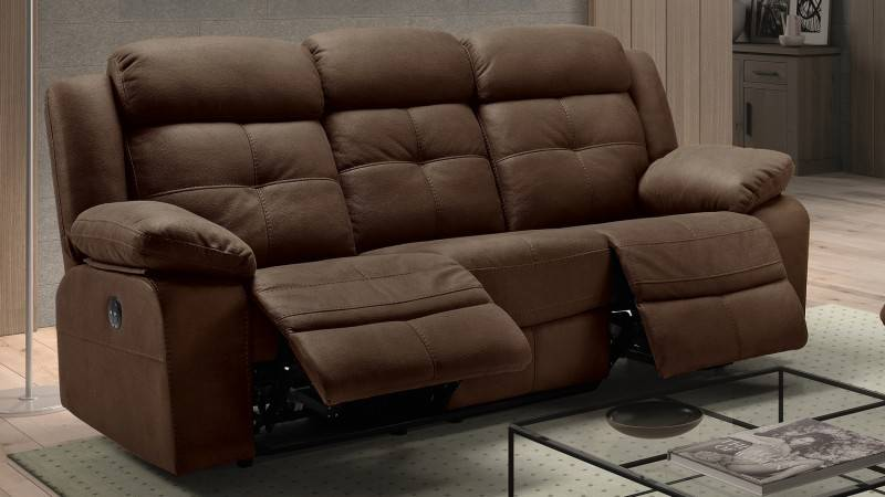 gdegdesign Canapé relax 3 places électrique tissu imitation cuir nubuck - Simon