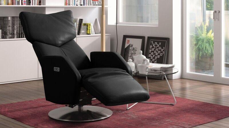 gdegdesign Fauteuil cuir relax électrique bi-moteur pivotant noir - Dillon
