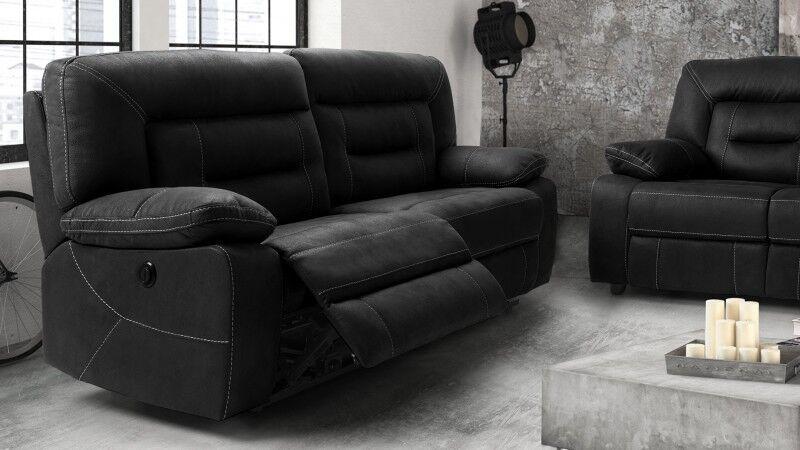 gdegdesign Canapé relax 3 places électrique tissu imitation cuir gris anthracite - Adana