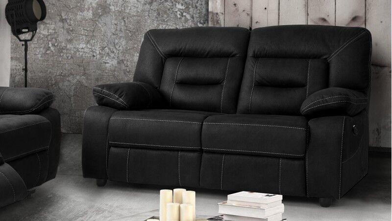 gdegdesign Canapé relax 2 places électrique tissu imitation cuir gris anthracite - Adana