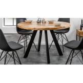gdegdesign Table à manger ronde industriel bois 120 cm - Davis
