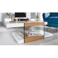 gdegdesign Table basse double plateaux blanc et bois clair avec verre - Varberg <br /><b>389 EUR</b> gdegdesign