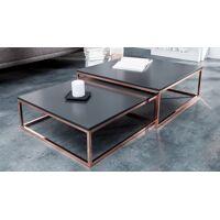 gdegdesign Table basse gigogne carrée laquée gris anthracite et métal cuivré - Wim <br /><b>329.00 EUR</b> gdegdesign