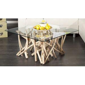 gdegdesign Table basse bois flotté avec plateau verre carré - Clay - Publicité