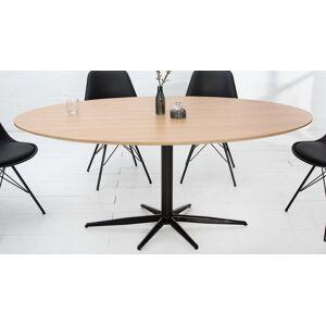 gdegdesign Table à manger industriel ovale bois et métal 170 cm - Rhys - Publicité