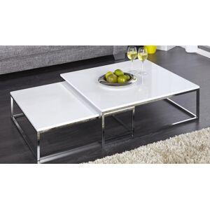 gdegdesign Table basse gigogne carrée laquée blanche et chromée - Wim - Publicité