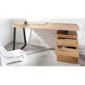 gdegdesign Bureau droit design industriel bois de chêne clair et métal noir avec caisson - Renato - Publicité