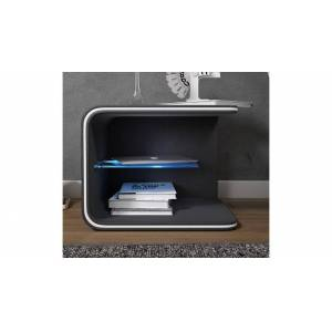 gdegdesign Chevet design lumineux simili cuir noir - Fritch - Publicité