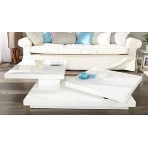 gdegdesign Table basse modulable double plateau laquée blanche - Anja - Publicité